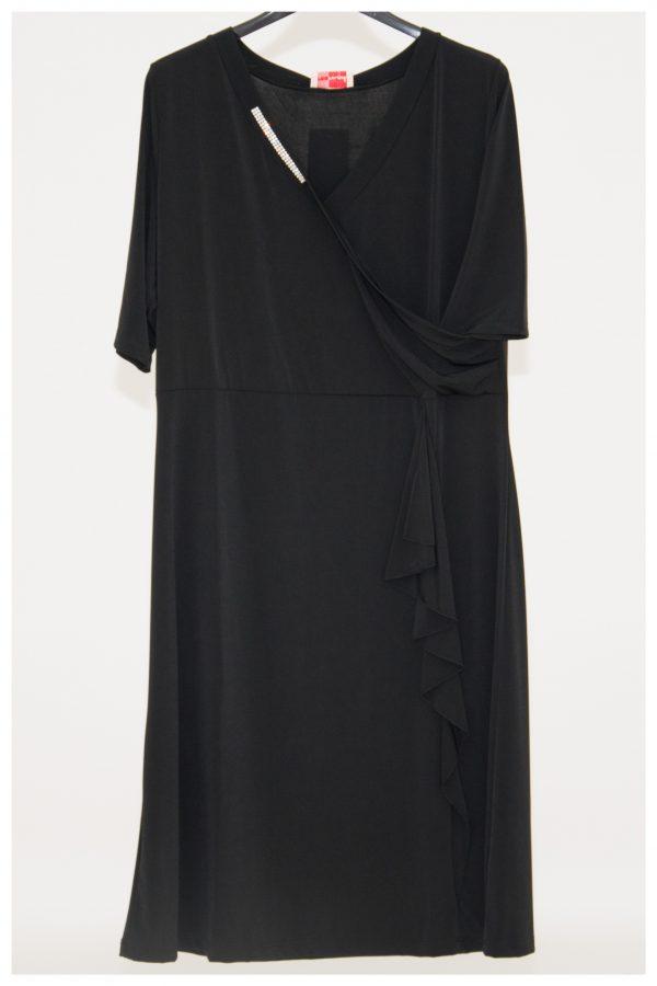 abito elegante con strass sul collo a V, incrocio chiuso sul seno e drappeggio laterale