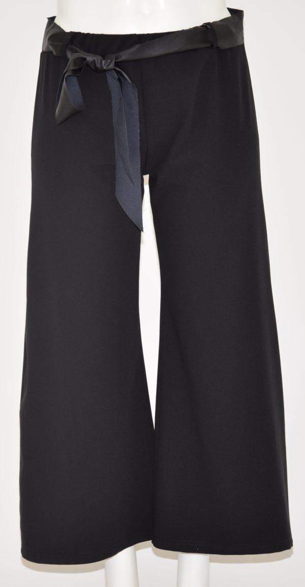 Pantaloni a gamba larga con elastico in vita e Cintura di ecopelle