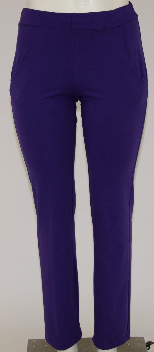 Pantalone di felpa tinta unita a vita alta con due tasche davanti