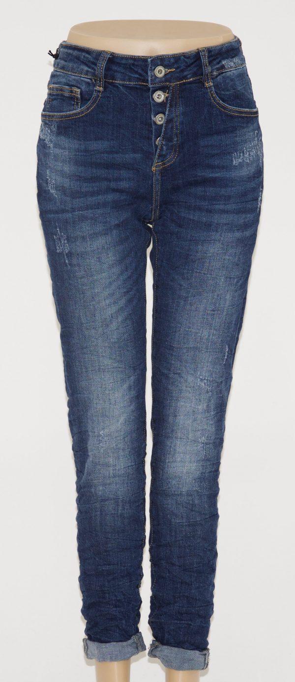 Jeans blu sfumato con 5 tasche, apertura con 4 bottoni