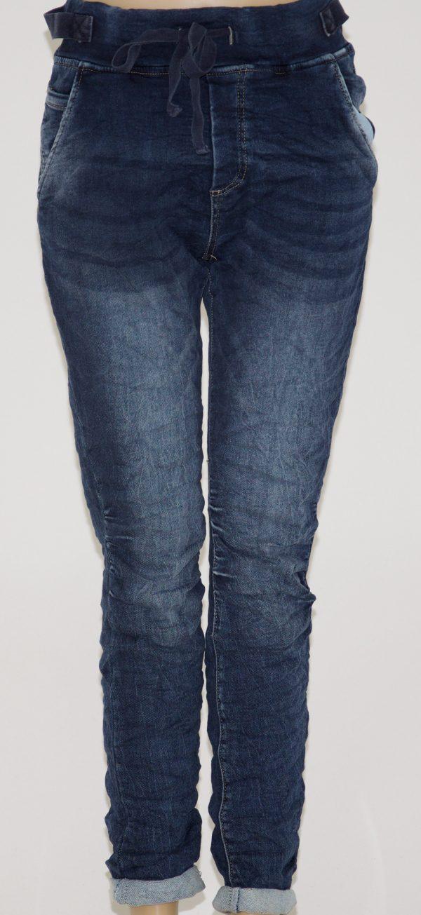 Jeans blu sfumato con 5 tasche e cerniera zip, elastico in vita con laccio regolabile