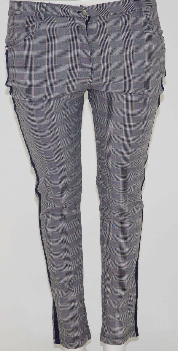 Pantalone scozzese, 4 tasche con zip e bottone, riga laterale blu scura o nera