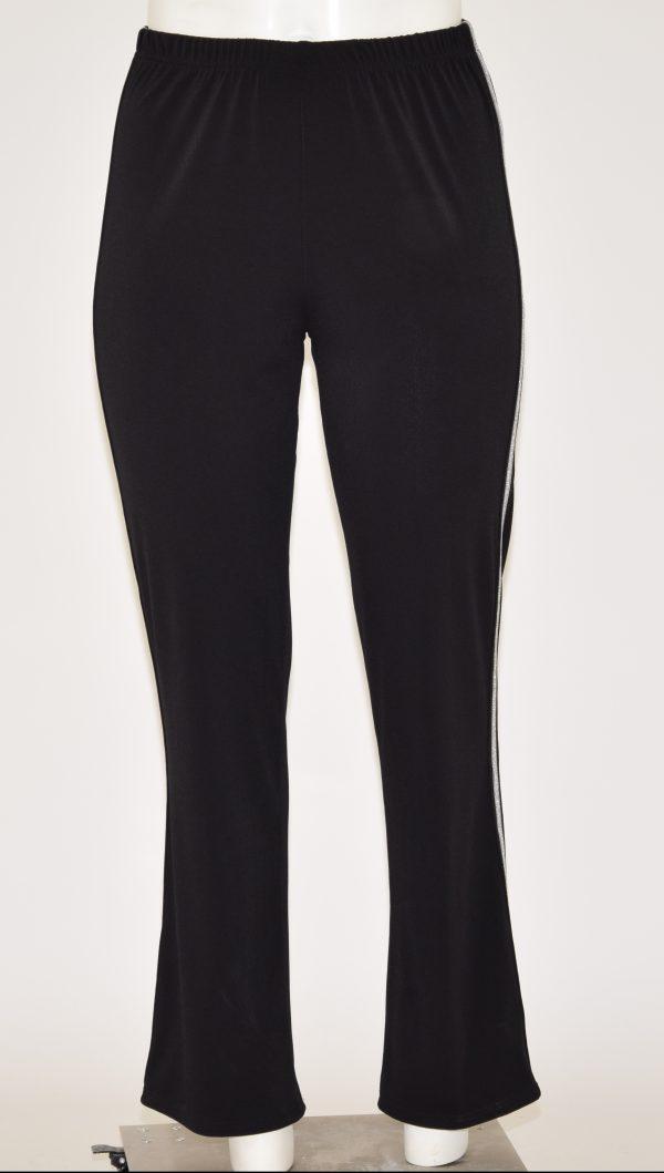 Pantaloni tinta unita a vita alta ed elasticizzati con banda laterale brillante