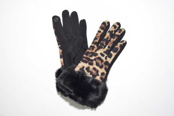 Guanti touchscreen in fantasia leopardata con ecopelo