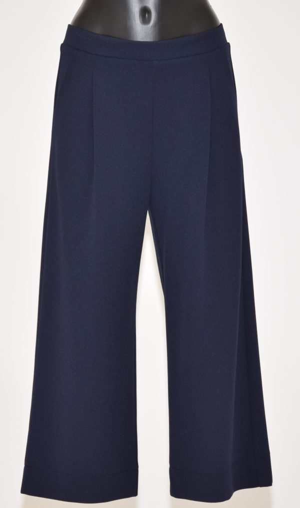 Pantaloni tinta unita in piega a Gamba larga elasticizzati in vita