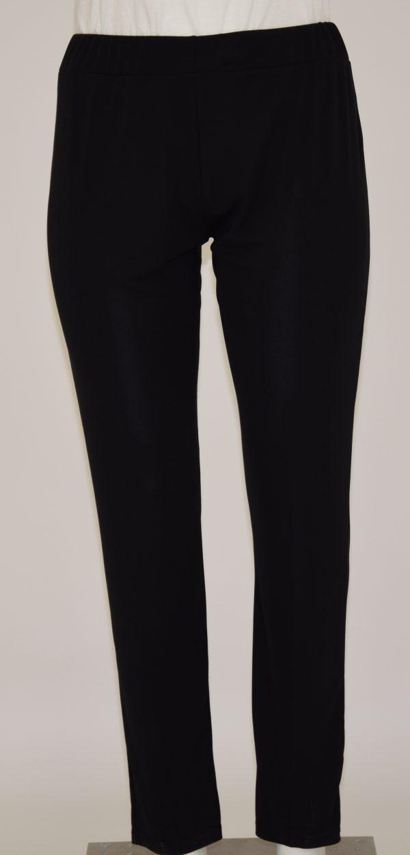 Pantalone nero tinta unita basico con elastico in vita
