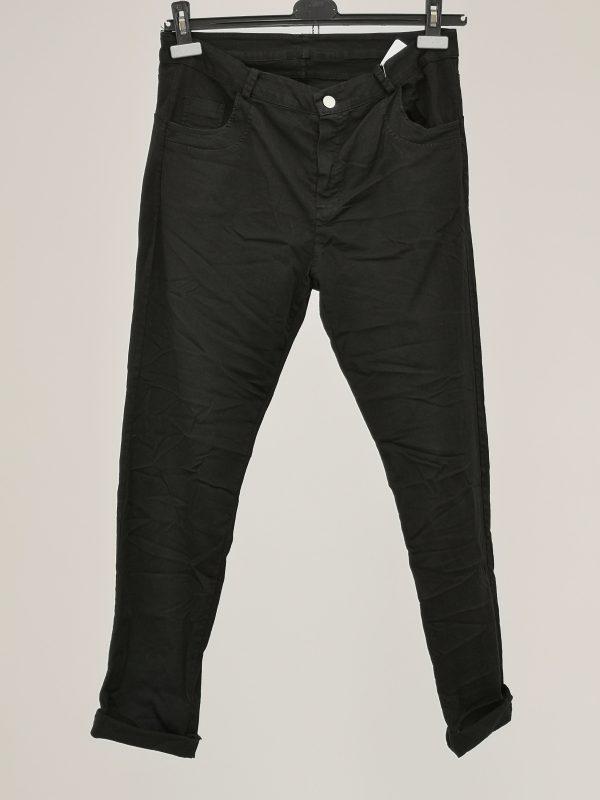 Pantalone 5 tasche tinta unita effetto stropicciato
