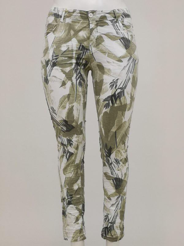 Pantaloni in fantasia di foglie stilizzate con 5 tasche e apertura con bottone e zip